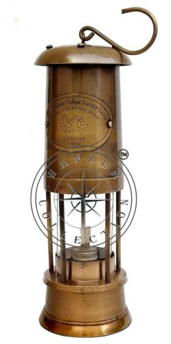 """14"""" Permissible Flame Safety Lantern Ship Maritime Brass Nautical Miner Oil Lamp"""