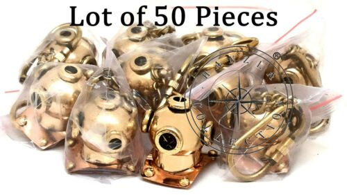 Nautical Brass Diving Helmet Keychain Lot of 50 Pieces Maritime Divers Keyring