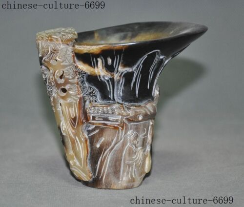 Chinese Old Horns Ox horn Pine trees character Wine vessel Goblet Wineglass Cup