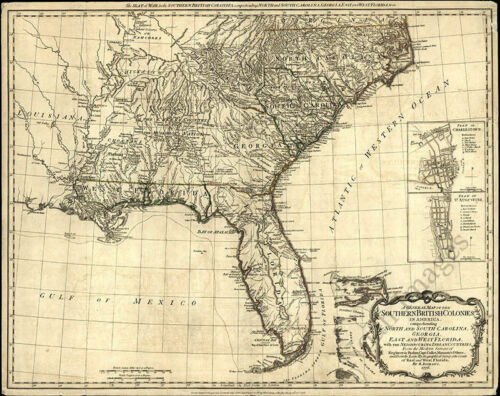Map of the southern British colonies in America c1776 repro 18x24