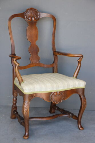 Antique solid carved oak Chippendale armchair large silk seat ornate carvings