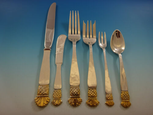 Grenada Gold by Old Newbury Crafters Sterling Silver Flatware Set Service 24 Pc