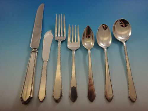 William and Mary by Lunt Sterling Silver Flatware Set 8 Service 56 Pieces