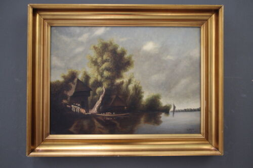 Impressive large signed oil painting 18th century barn riverscape gilt framed
