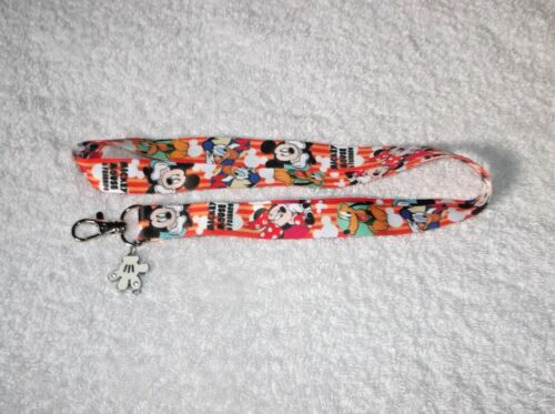 New MICKEY MOUSE & Friends LANYARD + Glove Charm Pluto Minnie Donald Duck
