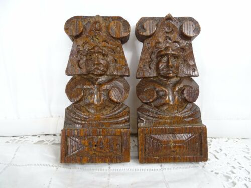 Antique French Hand Carved Oak Wood  Decorative Element Pair of Figurine