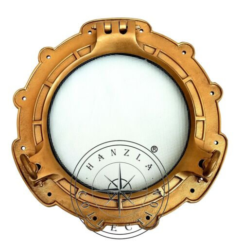 "15"" Maritime Antique Brass Porthole Ship Window Wall Mirror Nautical Cabin Decor"
