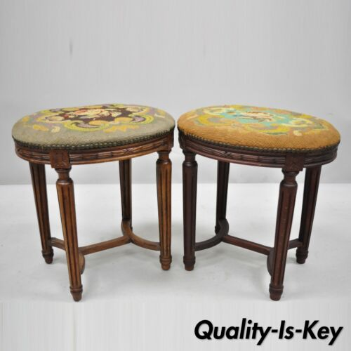 Pair of French Louis XVI Style Carved Walnut & Needlepoint Oval Stools