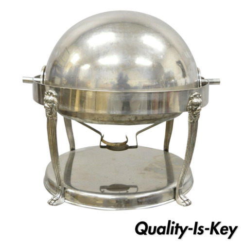 Large Vintage Regency Silver plated Round Silver Chafing Dish Chafer with Lions