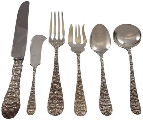 Baltimore Rose by Schofield Sterling Silver Flatware 12 Set Service 84 pieces