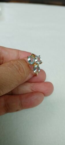 Natural Unheated Oval Blue AQUAMARINE 925 STERLING SILVER RING S7.0