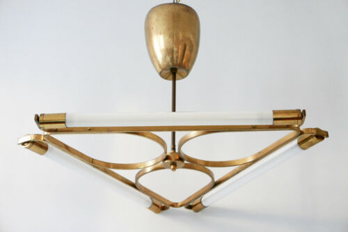 Gorgeous TRIANGULAR 3-Flamed BAUHAUS Brass CHANDELIER Pendant Lamp 1930s Germany