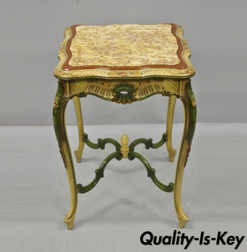 Vintage Italian Venetian Style Hand Painted Floral Green Marble Top Side Table