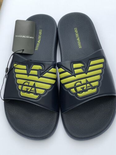 Emporio Armani Large Logo Navy Sliders Sandals Shoes Slippers Size UK 6.5 BNIB
