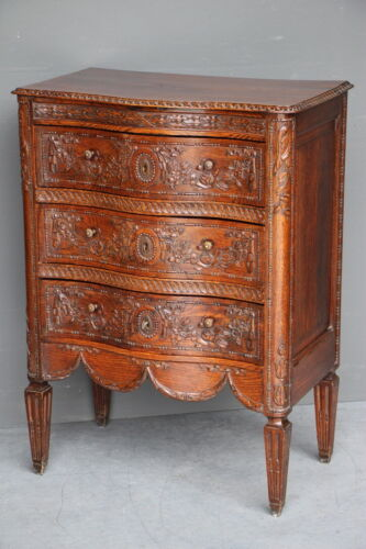 Antique French chest of three drawers superb ornate carved oak serpentine 1870