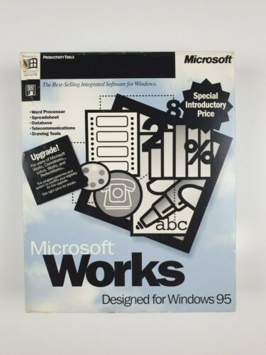 Microsoft Works 4.0 For Windows 95 Big Box With Manuals, Floppy Disks and Discs