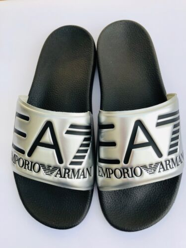 Emporio Armani EA7 Silver/Black Sliders Sandals Shoes Slippers Size UK 8 BNIB