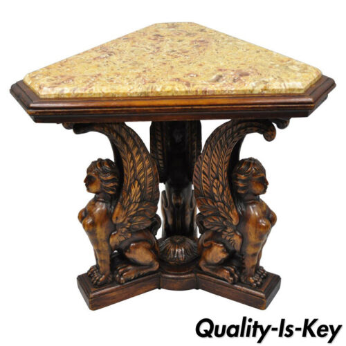 Figural Carved Walnut Winged Female Griffin Triangle Side Table Resin Inlay Top