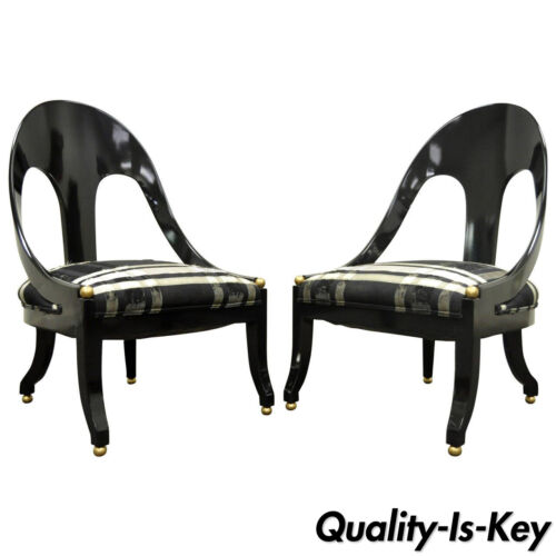 Pair Michael Taylor Baker Black Lacquer & Gold Spoon Back Slipper Lounge Chairs