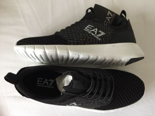 EMPORIO ARMANI EA7 Black Lace Up Trainers Runners Sneakers Size UK 6.5 BNIB