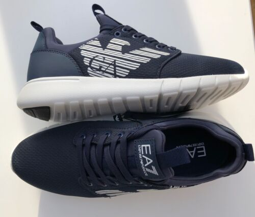 EMPORIO ARMANI EA7 Navy Trainers Sneakers Runners Logo Design Size UK 6.5 BNIB