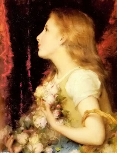 Oil painting Etienne Adolphe Piot - young girl with a basket of flowers canvas
