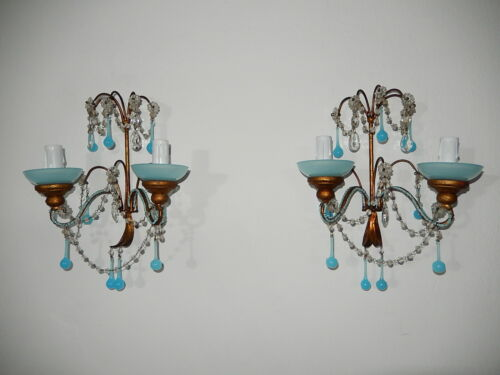 ~c 1920 French RARE Blue OPALINE Drops & Crystal Prisms Beaded Sconces
