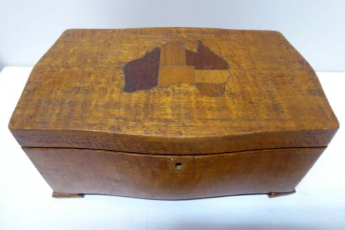ANTIQUE AUSTRALIAN SILKY OAK INLAID MAP AUSTRALIA TIMBERS BOX DECO FOLK ART