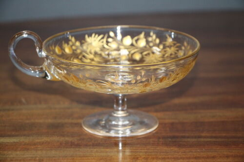Large cut crystal gilt engraved tazza 19th century hand blown antique glass bowl