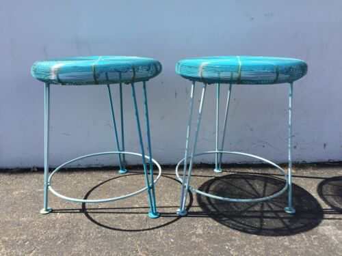 Bar Counter Stools Mid Century Blue Wire Danish Chairs Seating Modern Dining MCM