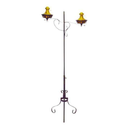 Early P&A Adjustable Wrought Iron Double Oil Lamp Floor Stand Piano Floor Lamp