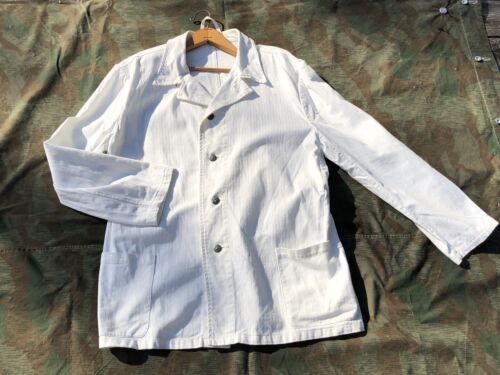 WHITE DRILICHE TUNIC enlisted HBT summer WWII German Army XL size 48 snow camoGermany - 156432