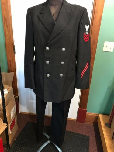 USN Navy 1975-1985 Military Uniform Dress Jacket + Pants w/pewter buttons, beltOriginal Period Items - 13983