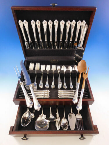 Grand Colonial by Wallace Sterling Silver Flatware Set for 12 Service 91 pieces