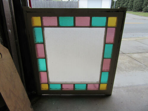~ ANTIQUE QUEEN ANNE STYLE STAINED GLASS WINDOW ~ 43 x 41 ~ SALVAGE