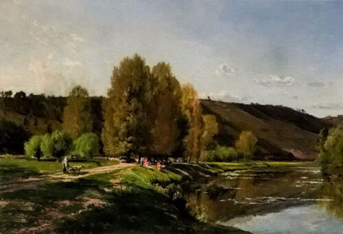 Oil painting alexandre rene veron - vaches au bord dun fleuve cows by river art