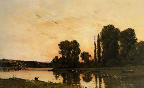 Oil painting Hippolyte Camille Delpy - Lavender In The Setting Sun landscape art