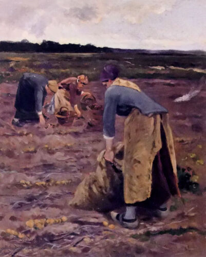 Oil painting Hippolyte Camille Delpy - the potato gatherers at sunset landscape