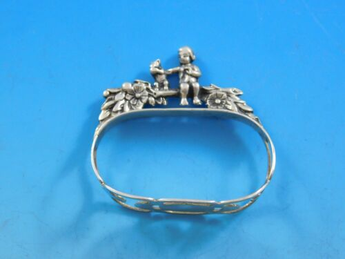 Labors of Cupid Figural 835 Silver W. Germany Napkin Ring w/ Child & Squirrel
