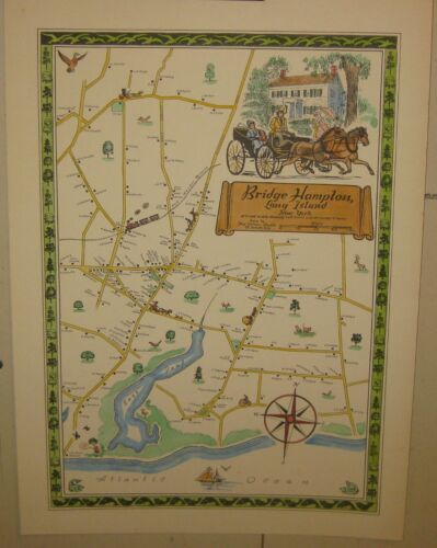 "Rare Vintage ""BRIDGE HAMPTON, Long Island' New York NELSON STUDIO Pictorial MAP"