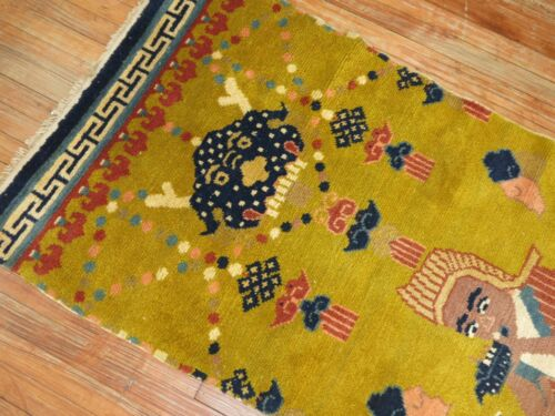Antique Chinese Peking Ningxia Pillar Rug Runner Size 2'8''x7'7''