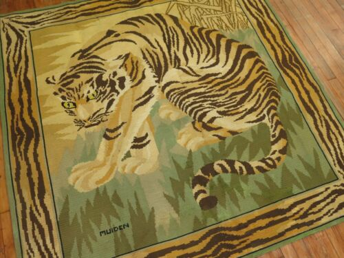 Antique Signed MUIDEN TIGER Portuguese Needlepoint Rug Size 5'10''x6'