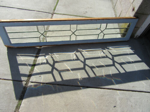 ~ ANTIQUE STAINED GLASS TRANSOM WINDOW ALL BEVELED 1 OF 2 ~ 65 X 14 ~ SALVAGE