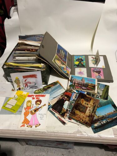 Bulk Vintage SCRAP ALBUM & A Box Of CARDS, Letters, From Deceased Estate 3.5 kg