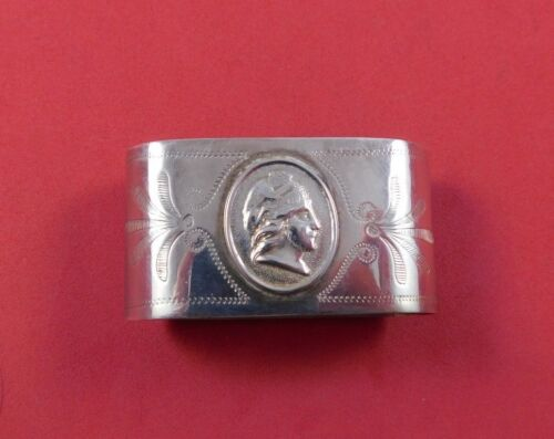 """Medallion by Unknown Coin Silver Napkin Ring Oval 2 1/4"""" x 1 1/8"""""""