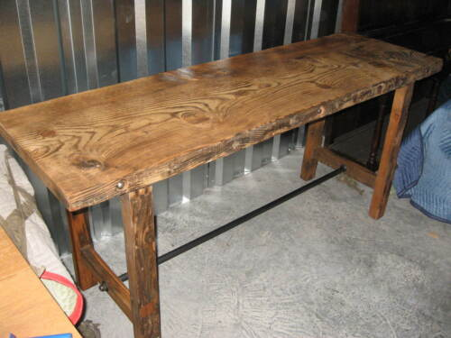 """Industrial Antique Console Table Kitchen Island w 2.5"""" Thick Top 75"""" x28"""" x 34""""T"""