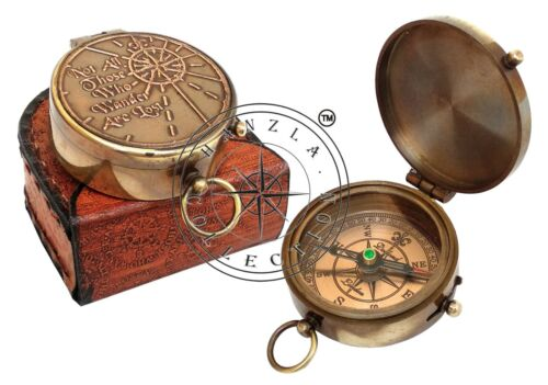 Antique Nautical Directional Brass Camping Compass Pocket Gift With Leather Case
