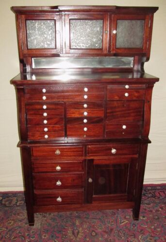 19TH C 20 DRAWER MAHOGANY ANTIQUE DENTAL CABINET BY THE AMERICAN CABINET CO.