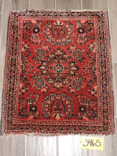 "23"" x 28"" Handmade Antique Sarouk Wool Rug"