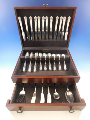 English Shell by Lunt Sterling Silver Flatware Set for 12 Service 64 pieces